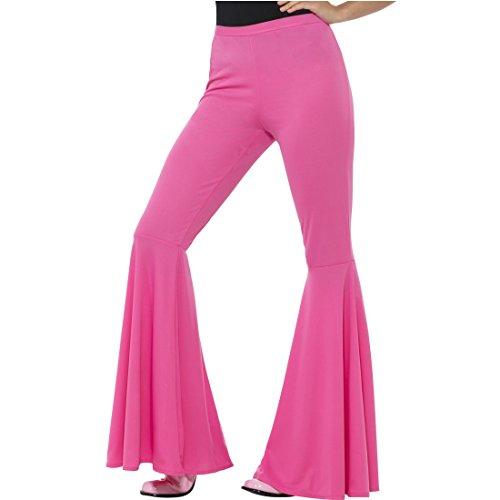 Schlaghose Damen pink - M/L (38 - 44) - Sixties Bootcut ausgestellte Frauenhose 90er Flower Power Hippie Outfit Damenhose Schlagerparty 70er...