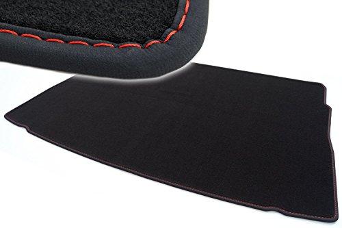 kh Teile Kofferraummatte / Velours Automatte Premium Qualität Stoffmatte schwarz Nubukleder Einfassung mit roter Naht