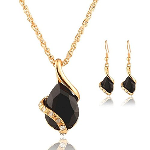 Rcool Women Girl Crystal Pendant Chain Necklace Choker Drop Earrings Jewelry Set (Black)