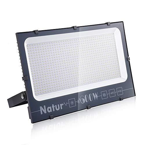 Natur 600W LED Strahler, Superhell Fluter,IP66 wasserdicht Industriestrahler, Flutlicht-Strahler,Außen-Leuchte Flutlicht-Strahler für Innen- und Außenbereich (Kühles Weiß, 600W)