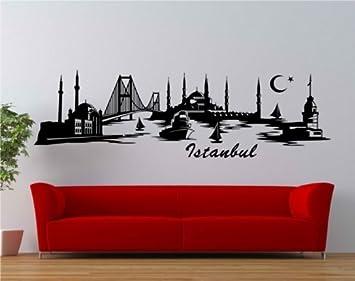 Wandtattoo Istanbul Skyline XXL Trkei Wand Aufkleber Wohnzimmer Stadt 1M062 2 FarbeSchwarz Matt