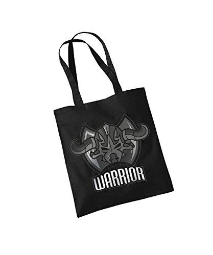 Schwarz Babyshirt (Abenteurer Krieger Warrior Baumwolltasche Schwarz, langer Henkel)