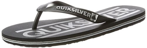 Quiksilver Herren Molokai Wordmark Offene Sandalen, Schwarz (Black/Grey/Black-Combo), 45 EU