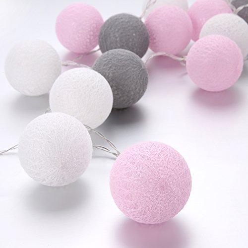 Lichterkette Baumwolle LED Textillichterkette Textilkugeln Luminaria Party/Hochzeit Licht Dekoration mit 20 Kugeln USB pink, weiß, grau (Batterie)