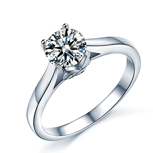Sreema London 925 Sterling Silver Brilliant Round Cut Floral Solitaire Promise Forever Eternity Engagement Wedding Rings, with Gift Box, Ideal Gift for Lovers