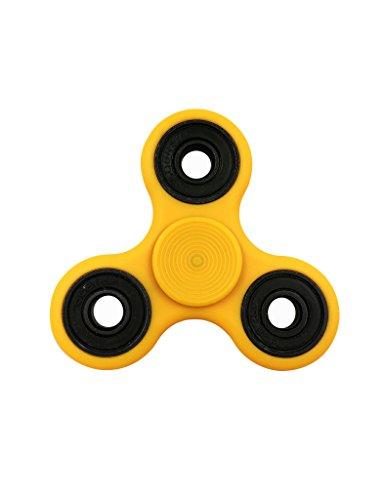 Preisvergleich Produktbild Hand Spinner Tri Hand Fidget Spinner Hybrid Keramik Lager Spielzeug Geschenke für Kinder und Erwachsene - Ideal bei Nervösität, Angst, Stress und Hyperaktivität Gelb PA+GF
