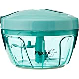 Pigeon Handy Chopper with 3 Blades for Easy and Comfortable Chopping of Fruits and Vegetables with Strong Plastic Material (Green)