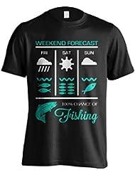 """Funny–Camiseta, diseño de pesca Pesca de """"Fin De Semana Pesca Forecast–Camiseta de Idea de regalo para Dad, Brother, Uncle o para un amigo en cualquier ocasión. Regalo de cumpleaños, Regalo del día de padre y regalo de Navidad..., negro"""