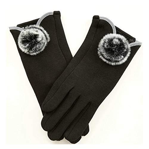 LOUMVE Winter Frauen Handschuhe Samt Outdoor Radfahren Touchscreen Handschuhe Warm Fahrenhandschuhe Schwarz Freie Größe (Handschuhe Weiße Zauberer)