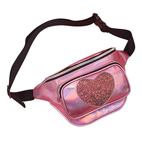 Lonshell Bauchtasche Modern Brusttasche Damen Mädchen Clutch Glitzer Handtasche Trachtentaschen Umhängetasche Dirndl Bumbag Gürteltasche Silber Glitzer