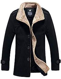 YUYOUG Manteau en Molleton Veste Polaire Chaud Extérieur Automne Hiver  Trench-Coat Slim fit Casual 695732e4b60b