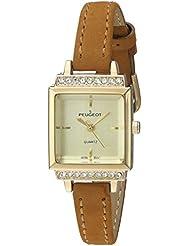 Peugeot oro plateado reloj de mujer con cristales y correa de cuero marrón