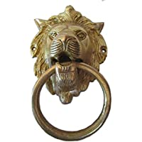 Door Knocker - Fully Brass Made -Traditional Hardware : (Small Lion Type - Brass Finish)