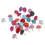 Toyvian Puntine a forma di fungo Polka Dots Perni puntaspilli Strumento decorativo fai da te per uso scolastico a casa e in ufficio (colore casuale) - 30 pezzi