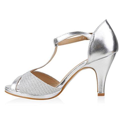 Damen Riemchensandaletten   Glitzer Sandaletten Metallic   Stilettos High Heels   Sommer Party Schuhe   Abiball Hochzeit Brautschuhe Silber Total
