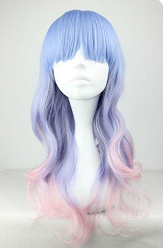 Beauty Smooth Hair Frauen Lang Wellig Harajuku Style Cosplay Peruecke (Hellblau/ Helles Lila/ Pink) NW20-2 -