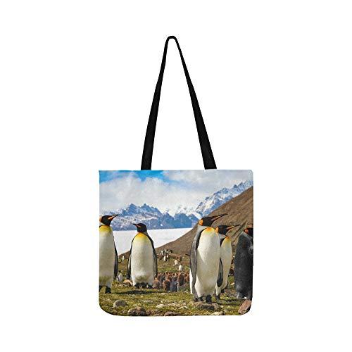 Niedlichen Haarigen Antarktis Pinguin Vogel Leinwand Tote Handtasche Umhängetasche Crossbody Taschen Geldbörsen Für Männer Und Frauen Einkaufstasche Tasche Georgia