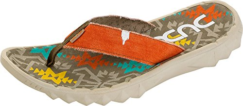 Dude Sava Flip Flops Relaxed Fit Dual Sizing Fabric Toe Post Incas Rust
