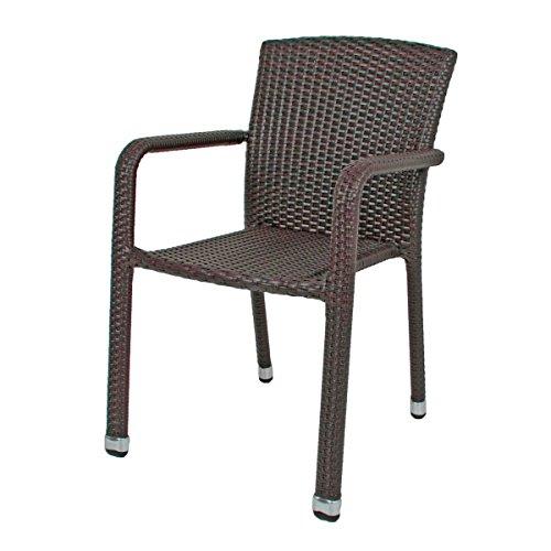 """VARILANDO Stapelstuhl \""""Bill\"""" aus Aluminium und Kunststoffgeflecht in 2 Varianten Gartenstuhl Armlehnenstuhl Armstuhl (Coffee)"""