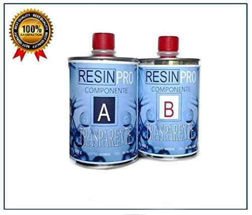 Résine époxy transparente, 800 g, bicomposant A + B, super transparent effet eau, pour créations transparentes, résine pour bijoux, moules
