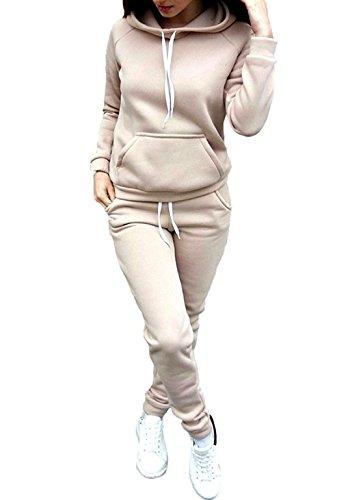 Donna Tuta Sport Manica Lunga Felpa con Cappuccio Pantaloni 2 Pezzi Invernali Puro Colore Eleganti Manica Lunga Casual Jogging Pullover Hoodie+Pantaloni Cachi