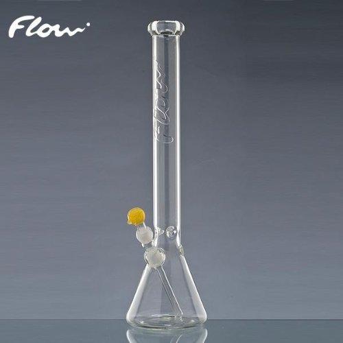 Flow Glas Bong mit großer Kugel und Eis (Eisbong). Tabakpfeife mit 5mm Wandstärke!, 55cm hoch, 50mm Ø, 18,8er Schliff, Adapter Chillum und Kopf
