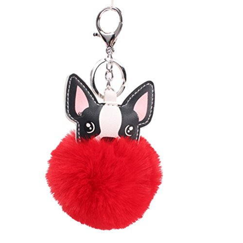 SOMESUN Keychain Ball Fox Portachiavi Borsa Peluche Auto Portachiavi Ciondolo Gift,Nuovo Palla di Pelo e Fox Artificiale Strass Perla intarsio Testa Portachiavi (Rosso)