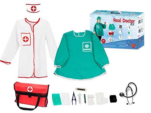Otuli Arztkoffer 14-teilig Arzt-Kostüm Arztkittel funktionierende Werkzeuge wie Stethoskop Thermometer Arztstempel Spritzen für Kinder ab 5 Jahren Geschenke für Mädchen (122/128)