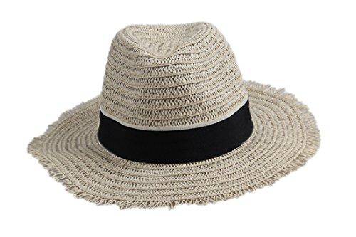 Dantiya-moda unisex cappelli della spiaggia donna,cappello da sole di paglia (nero)