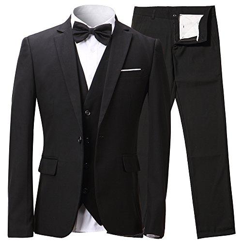 Herren Anzug Slim Fit 3 Teilig mit Weste Sakko Anzughose Business Smoking von Harrms,Schwarz,EU 50/Hose (Anzug Schwarzer)