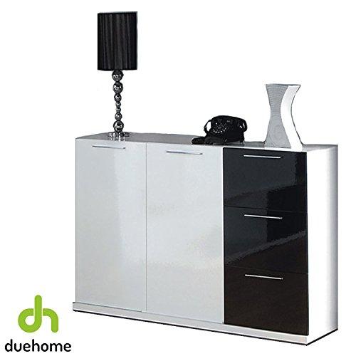 Habitdesign 0T6675BO - Aparador buffet con 2 puertas y 3 cajones, color Blanco y Negro Brillo