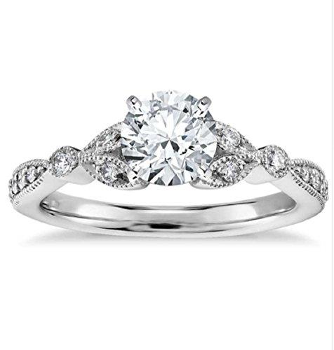 Gowe Petite Vintage Pavé Blatt Lab gewachsen Verlobung Diamant Ring 1ct moissanites