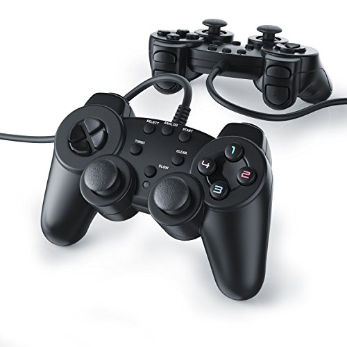 CSL - 2 x Gamepads per Playstation 2 / PS2 con cavo | Dual Vibration - Joypad Controller | nero