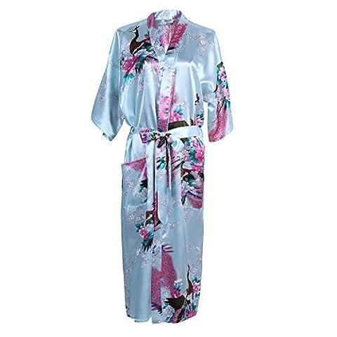 Elite99 Women's Sexy Robes Peacock and Blossoms Kimono Satin Nightwear