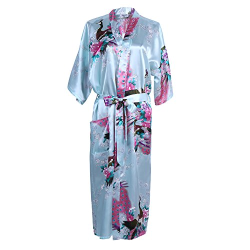 Elite99 Women's Sexy Robes Peacock and Blossoms Kimono Satin Nightwear Dress Long