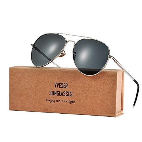 Yveser Polarisierte Aviator Sonnenbrille Pilotenbrille für Männer und Frauen Yv1816 (Schwarze...