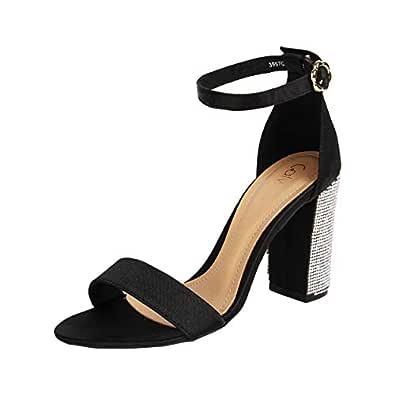 Catwalk Women's Embellished Heel Ankle Strap Sandals