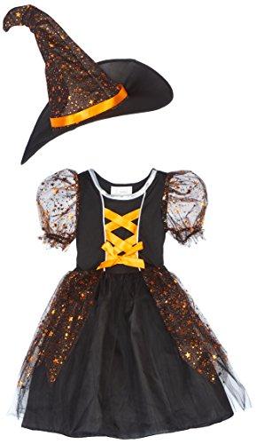 (Kostüm Hexe Maisie Kind Gr. 104 / Hexenkostüm Kinderkostüm Halloween orange Horror Karneval Spinne Fasching Pierro's)