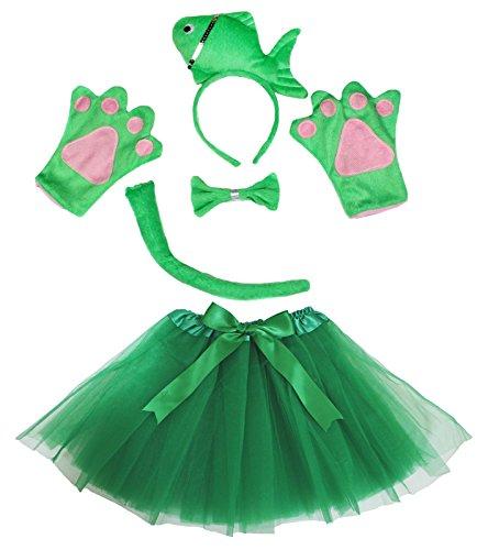 Fisch Stirnband Schleife Schwanz Handschuhe grün Tutu Kostüm 5-teiliges Girl Geburtstag oder Party Gr. One size, - Schule Mädchen 3 Teilig Kostüm