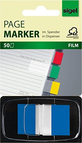 Sigel HN492 Haftmarker im Spender, blau, 50 Streifen im Format 25 x 43 mm - weitere Farben