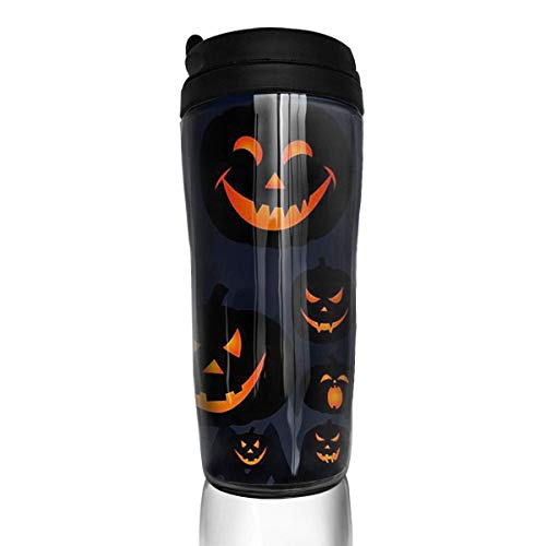 Travel Coffee Mug Halloween Jack O Lantern 12 Oz Spill Proof Flip Lid Water Bottle Environmental Protection Material ABS