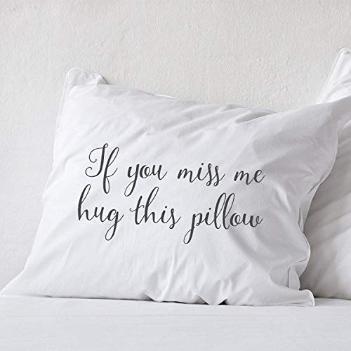 Prz0vprz0v Long Distance Relationship Pillow Cover Covercase Boyfriend Love Gift Long Distance Friendship Friend I Miss You Gift If You Miss Me Hug This Pillow Cover 12 x 20 Inch for Sofa Bed