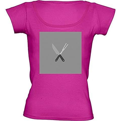 Camiseta Cuello Redondo para Mujer - Cuchillo Y Tenedor by ilovecotton