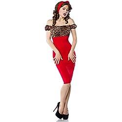 Atixo–Vestido de Vintage Pencil–Leo/Rojo M