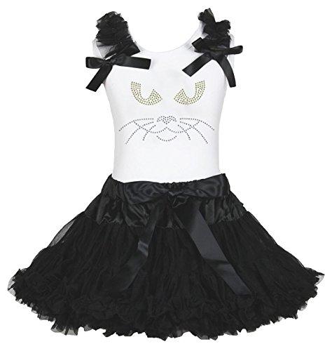 ss Cat Face Shirt Mädchen Kleidung Rock Outfit Set–74bis 122 Gr. Medium, schwarz (Halloween Cat Kleid Bis)