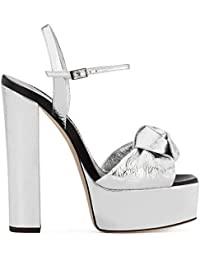 GAIHU Frauen Sexy Riemchen Peep Toe Chunky High Heel Platform Silber Sandalen Schuhe Damen Hochzeit Party Dress...