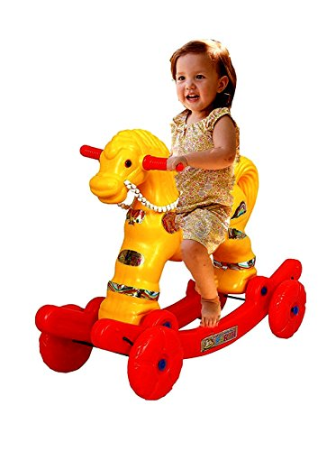 NJ Yellow Multi-Ride Rocking Horse Toy For Kids (Yellow)