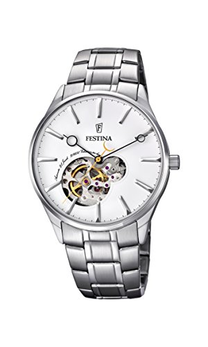 Festina Men's Automatic Watch with White Dial Analogue Display and Silver Stainless Steel Bracelet F6847/1