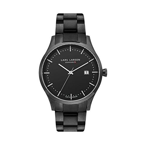 Lars Larsen lw19hommes de montre à quartz avec affichage analogique et bracelet en acier inoxydable Noir Cadran Noir 119cbblb