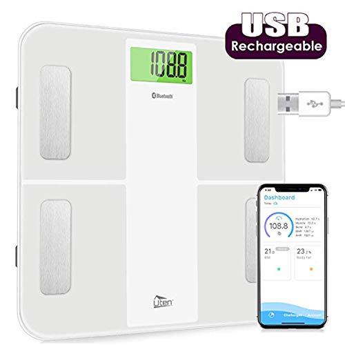 Uten - Bilancia digitale Bluetooth con batteria ricaricabile da 3,7 V integrata, misura ad alta precisione per BMI, grasso corporeo, muscoli, ecc, app Smart per fitness tracking, 28st/180 kg